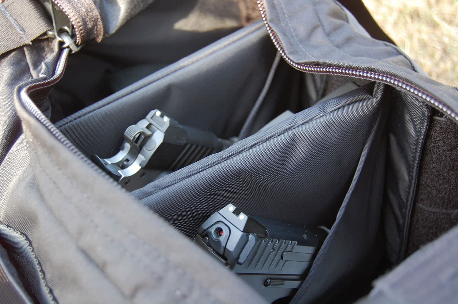 Pistol Range Bag in two pistol configuration
