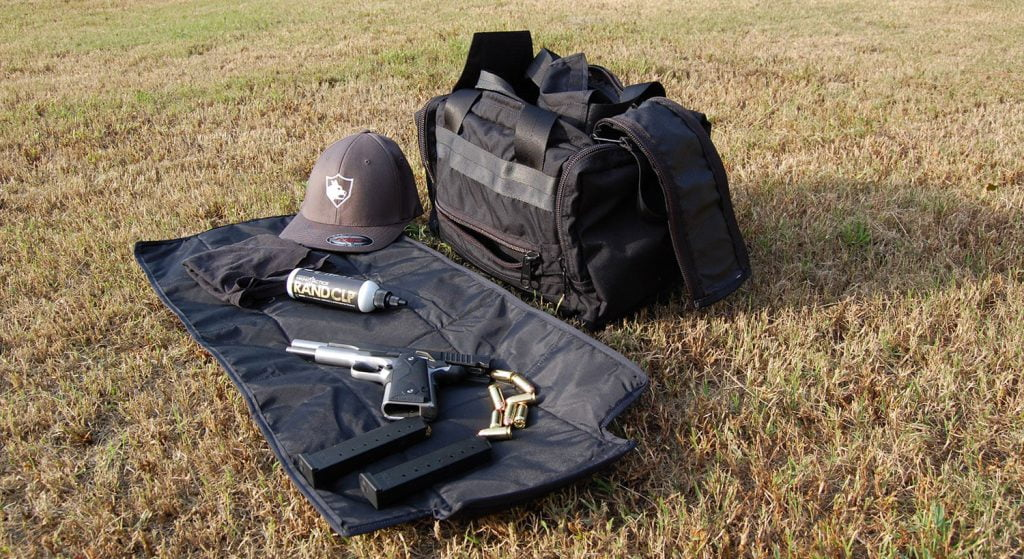 Shooting Range Bag with cleaning mat out