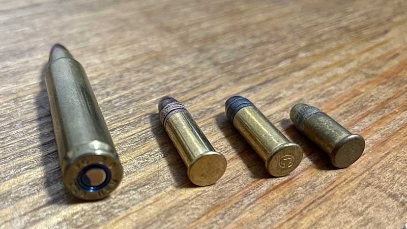 .223 vs 22LR (22Long and 22Short Also pictured)