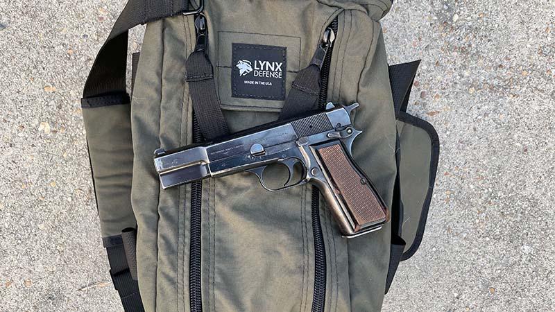 Browning Hi-Power on Lynx Defense Pistol Range Bag